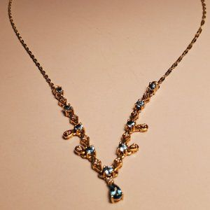 14kt Gold Blue Topaz and Diamond Necklace 18""